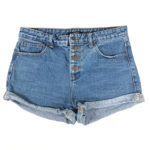 Forever 21 Button Fly Cuffed Jean Shorts Distress